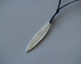 Olive leaf handmade pendant from silver plated bronze