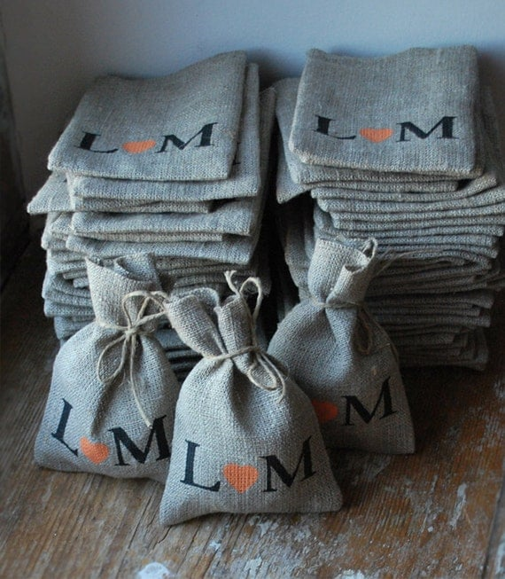 CUSTOM  listing for Carly. Burlap Linen Favor Bags.Design No 2 . PERSONALIZED initials. Set of 5 .