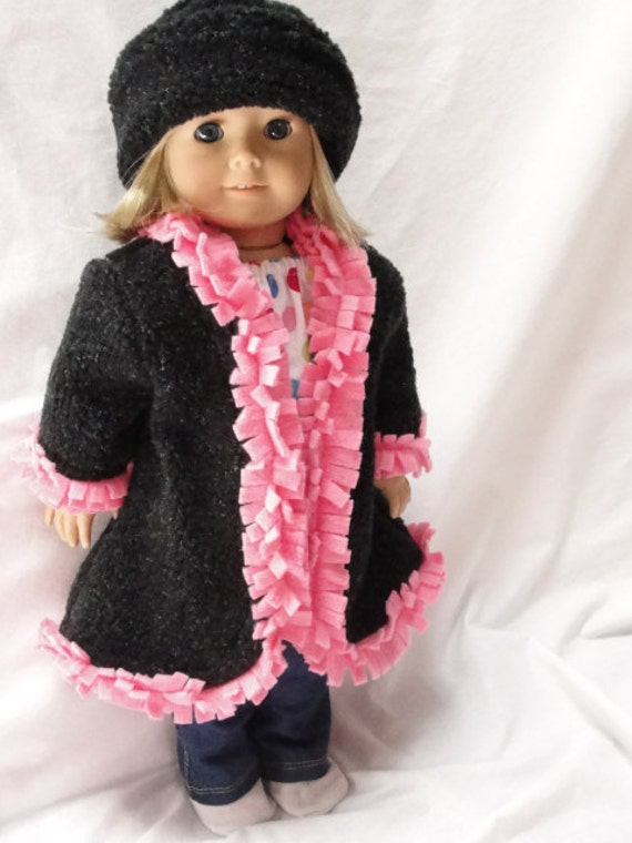 American Girl Doll Clothes -  One of a Kind Pink and Black Coat & Hat for 18 Inch Dolls with Fun Fringe