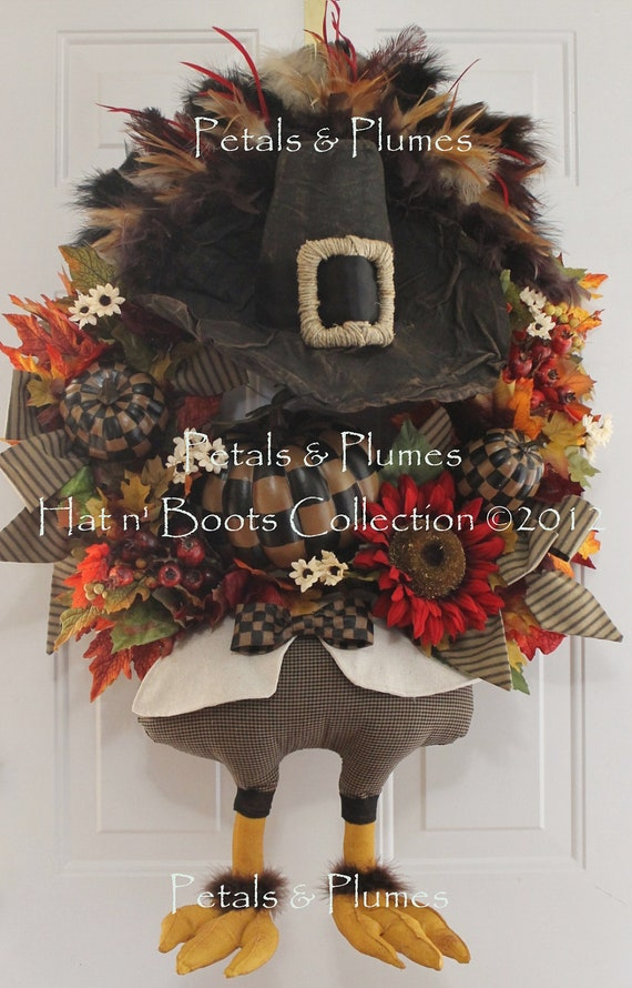 "PRE-ORDER ""2016"" Delivery-Thanksgiving Fall Wreath-Mr Gobble Gobble-Primitive Turkey-Petals & Plumes ORIGINAL Design"