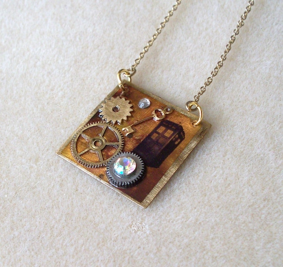 """Doctor Who Tardis Necklace """"In the Time Field"""""""