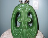 Gorgeous Mid Century Green Table Lamp With Rawhide Lamp Shade / 60s Desk Lamp / Mod Lamp