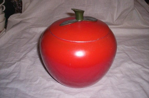 vintage apple tin canister cookie jar