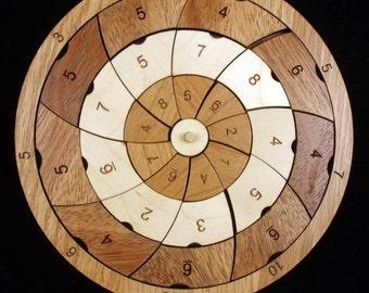 PinWheel wood brain teaser puzzle - beautiful design from 3 hardwoods