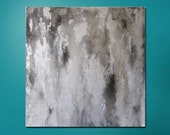 "15% OFF, now through 3/6/13. Enter code 15OFF at checkout. Abstract Painting 24"" x 24"" Modern Contemporary  White, Black, Silver"