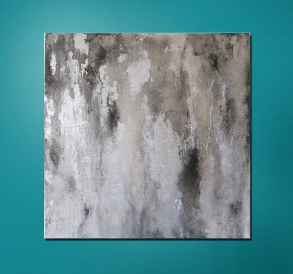 """15% OFF, now through 3/6/13. Enter code 15OFF at checkout. Abstract Painting 24"""" x 24"""" Modern Contemporary  White, Black, Silver"""