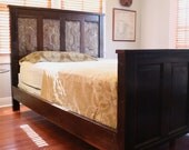 New Orleans Inspired Queen or King Bed made from Cypress Doors and Reclaimed Wood.