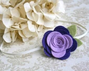 Felt Flower Headband for baby - Purple & Lavender Headband, newborn headband, infant, toddler, tween, teen, adult - Newborn Photography Prop