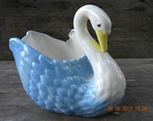 Swan Planter blue, white and yellow