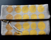 Linen Foldover Clutch - Blockprinted 'Signals' in Maize/Ochre