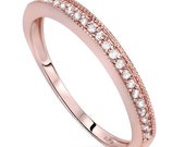 1/4CT Diamond Stackable Wedding Ring 10K Rose Gold Size 4-9