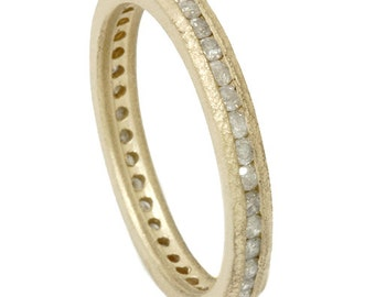 Raw Stackable Eternity Wedding Anniversary Ring Band Channel Set 14K Yellow Gold  (4-9)