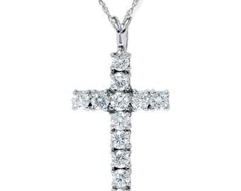 "Diamond Cross Pendant VS 1.12CT Diamond Cross Pendant 14K White Gold 1"" Womens Diamond Cross, Pendant, Diamond Pendant, Gifts For Her"