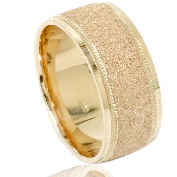 Full Bands: Brushed Wedding Band 10K Yellow Gold Mens 8MM Ring Size 7-12