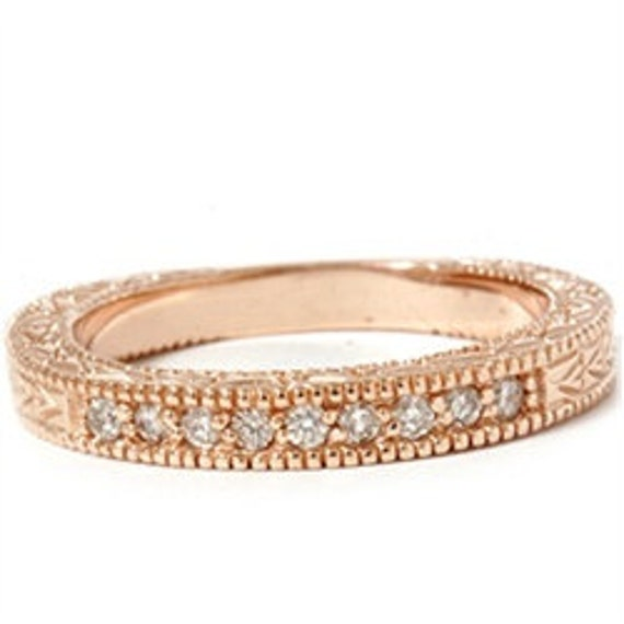 Diamond Anniversary .25CT 14K Rose Gold Carved Wedding Ring Anniversary Band Size (4-9)