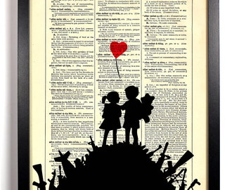 Banksy Kids On A Hill, Home, Kitchen, Nursery, Bath, Office Decor, Wedding Gift, Eco Friendly Book Art, Vintage Dictionary Print, 8 x 10 in.