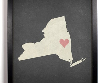 State Love New York, Home, Kitchen, Nursery, Bath, Dorm, Office Decor, Wedding Gift, Housewarming Gift, Unique Holiday Gift, Wall Poster
