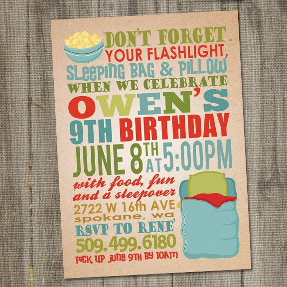 Sleep Over Birthday Invitation Sleep Over Party Invitation