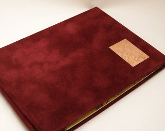 Handmade journal - Burgundy journal, notebook, sketchbook - Velvet journal - Screwpost binding - Copper etched insert on cover
