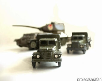 Vintage Soviet Toys. Tank and Trucks. Military Collectable Toys..