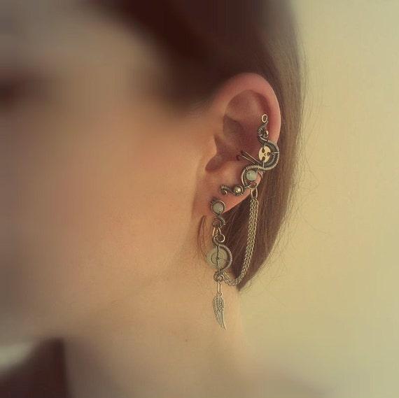 Steampunk Ear Cuff With Chains, Aqua Blue Quartz Beads And Stud Earrings