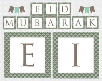 Party Printable DIY EID Mubarak Banner and Bunting - Instant Download