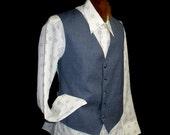 """70s 44"""" Large Men's Vest blue grey"""