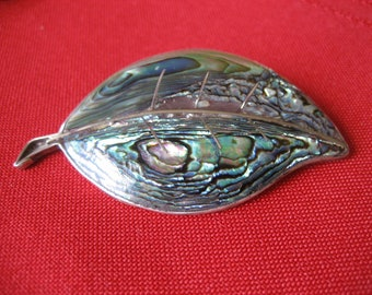 Vintage Sterling and Abalone Leaf Brooch Made in Mexico