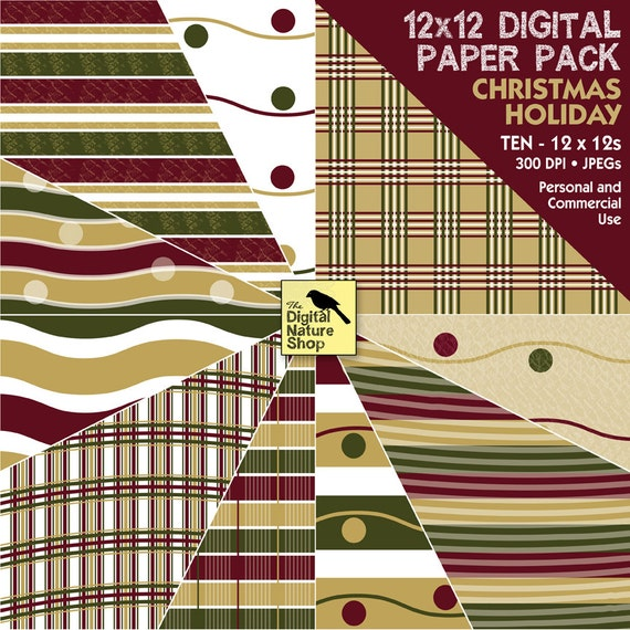 Christmas Holiday - Digital Paper Pack -  INSTANT DOWNLOAD - for Wrapping Paper, Scrapbooking, Cards, Journaling, Invites, Crafts, Collage