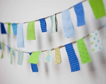 Scrappy Garland/ Party Banner / Photo Prop in Blue and Green