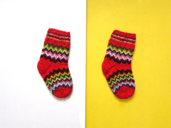 Size XXXS: Handmade Baby Socks with Colorful Pattern