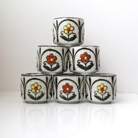 Mid Century Mod Tea Cups Flowers Stoneware Set of 6 Handmade Otagiri Japan
