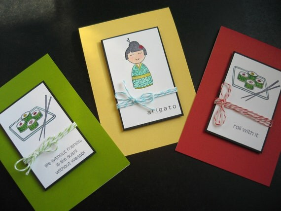 Handmade Notecards Set of 3 Japanese Arigato Sushi Kokeshi Doll