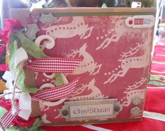 Christmas Paperbag Scrapbbok, Mini Paperbag Album, Gift, Custom Order