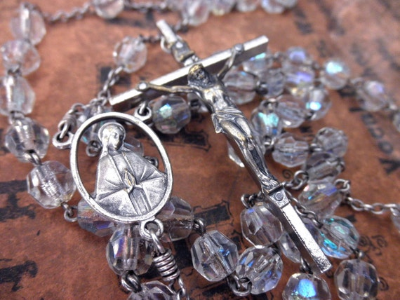 vintage crystal rosary-made in Italy