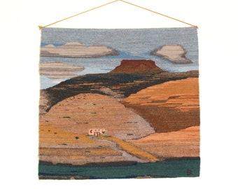Vintage Handwoven Tapestry of The Pedernal