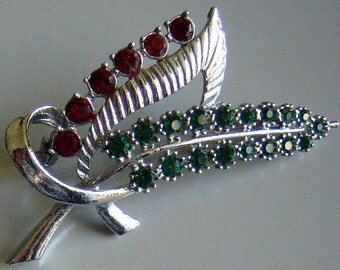 Vintage Art Deco Silver Brooch Red and Green Rhinestone Leaves Pin