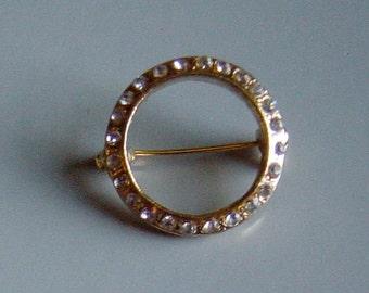 Vintage 1950s Circle Rhinestone Gold Pin Brooch Mid Century Style