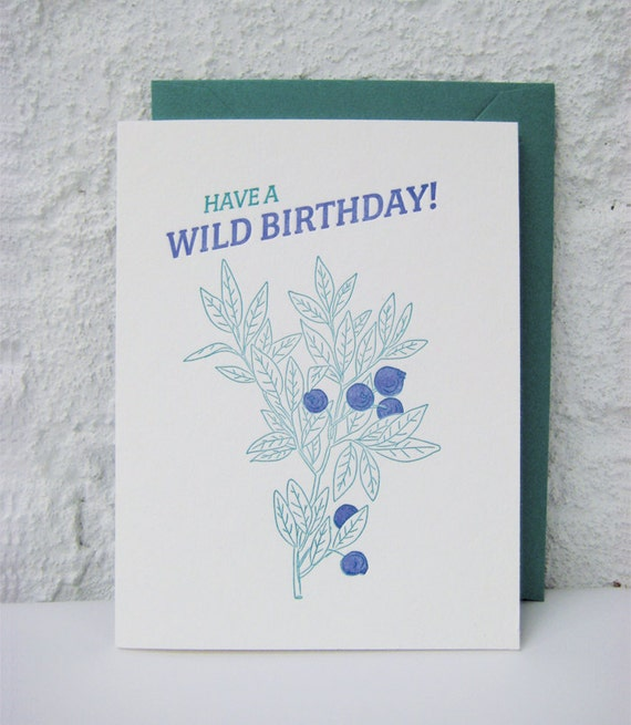 Letterpress Birthday Card - Happy Birthday - Wild Birthday - Wild Blueberries - Nature lover - outdoors - green - blue - natural - hiking