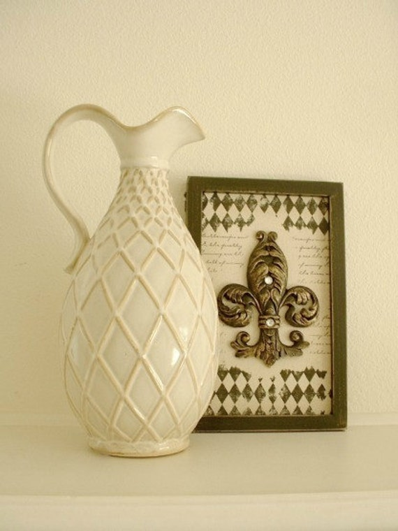 Reserved for SERRA, 48 hours....Large unique vintage ceramic pitcher with trellis pattern, has handle, rustic looking, antique white glaze.