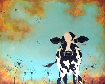 Cute Cow and dandelions kids & baby or grownups aqua holstien wall art