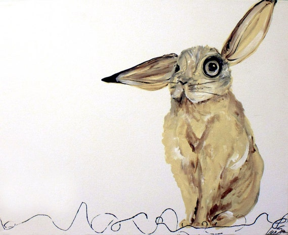 Abstract Rabbit Original Painting Bunny with attitude