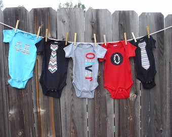 Boys Personalized Onesie Set, Perfect for Baby Shower Gift or Decoration - Celebration Chevron and Candy Stripe Dots