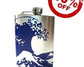 FLASK- Kanagawa Ocean Wave- alcohol, liquor, booze, wedding, bridal party, festival, concert, hip pocket SALE-- 50 percent off