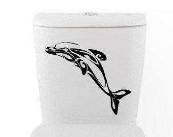 TRIBAL DOLPHIN DECAL- size good for toilet Home Decor, dolphin, ocean fish, Vinyl Wall Art, Shower, Bathroom, Interior Design