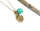 Hand of Fatima Hamsa turquoise bead gold filled necklace