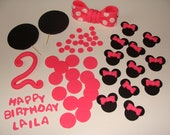 Edible Fondant Minnie Mouse Cake Topper with Fancy Number - for 2 Tier or 1/2 sheet Cake