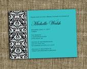 PRINTABLE INVITATION Custom Bridal Shower Invitation - Damask design - Memorable Moments Studio