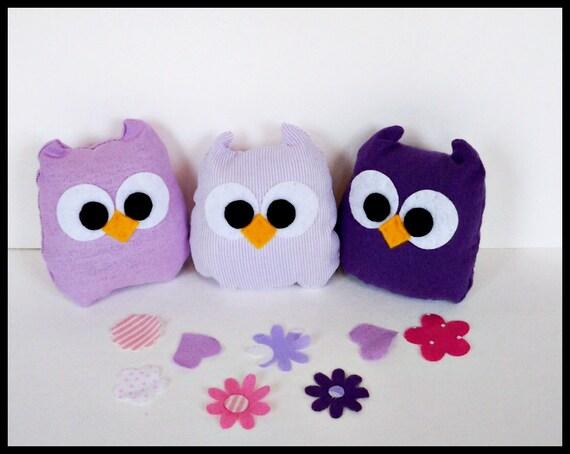 3 purple and polka dots mini owls