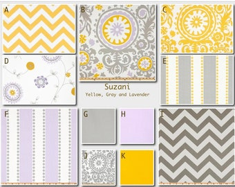 Custom Modern Baby Crib Bedding -Design Your Own Baby Bedding-  Suzani in Purple, Yellow and Gray
